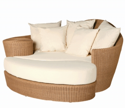 Barlow Tyrie Dune Daybed and Ottoman with Straw Coloured Weave